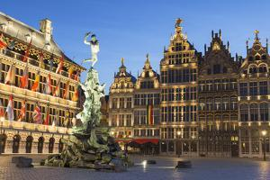 Town Hall (Stadhuis) and guild houses in Main Market Square, Antwerp, Flanders, Belgium, Europe by Ian Trower