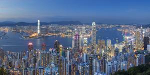 View of Kowloon and Hong Kong Island from Victoria Peak at Dusk, Hong Kong by Ian Trower