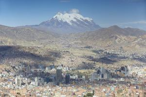 View of Mount Illamani and La Paz, Bolivia, South America by Ian Trower
