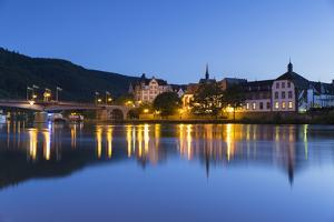 View of River Moselle and Bernkastel-Kues at dusk, Rhineland-Palatinate, Germany, Europe by Ian Trower