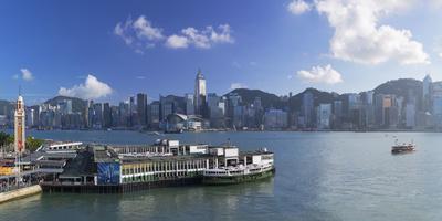 View of Star Ferry Terminal and Hong Kong Island skyline, Hong Kong, China