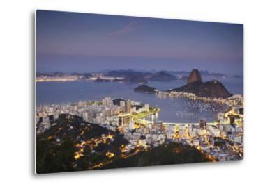 View of Sugar Loaf Mountain (Pao de Acucar) and Botafogo Bay at Dusk, Rio de Janeiro, Brazil