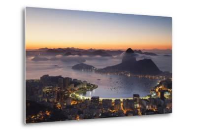 View of Sugarloaf Mountain and Botafogo Bay at Dawn, Rio De Janeiro, Brazil, South America