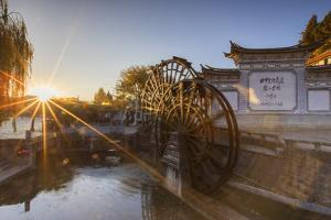 Waterwheels at dawn, Lijiang, UNESCO World Heritage Site, Yunnan, China, Asia by Ian Trower