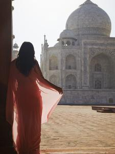 Woman in Sari at Taj Mahal, Agra, Uttar Pradesh, India (Mr) by Ian Trower