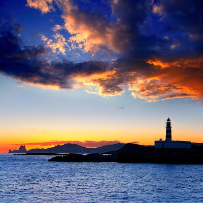Ibiza Island Sunset with Freus Lighthouse and Es Vedra in-Natureworld-Photographic Print