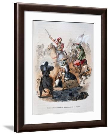 Ibrahim Pasha Fighting the Wahabis, Saudi Arabia, 1811-1818-Jean Adolphe Beauce-Framed Giclee Print