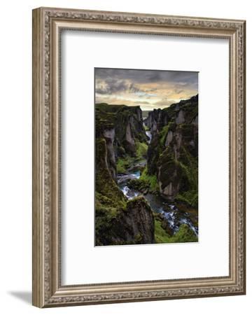 Ice Age Dark, Amazing Epic Fjaðrárgljúfur Canyon Iceland-Vincent James-Framed Photographic Print