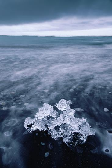 Ice Beach Fragment, Glacier Lagoon Midnight Beach Iceland-Vincent James-Photographic Print