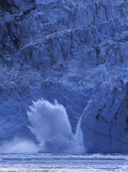 Ice Calves off Tidewater Surprise Glacier, Harriman Fjord, Prince William Sound, Alaska, USA-Hugh Rose-Photographic Print