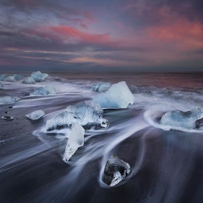 Ice Chunks on the Beach Next to Glacial River Lagoon Jškuls‡rlon (Lake), East Iceland, Iceland-Rainer Mirau-Photographic Print