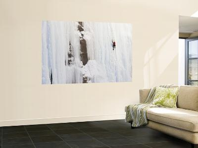 Ice Climber on Weeping Wall Above the Icefields Parkway, Banff National Park, Alberta, Canada-Don Grall-Wall Mural