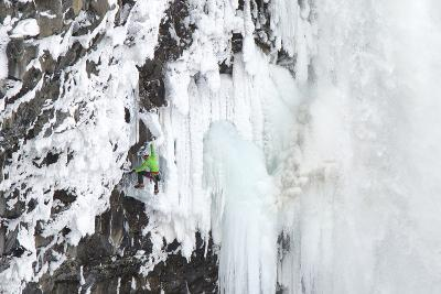 Ice Climber Tooling Ice at Helmcken Falls in British Columbia-Chad Copeland-Photographic Print