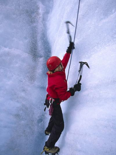 Ice Climbing on Root Glacier-Michael Melford-Photographic Print