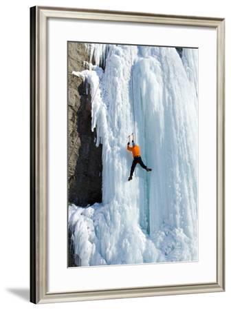Ice Climbing the Waterfall.-Vitalii Nesterchuk-Framed Photographic Print