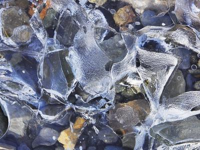 Ice detail and pebbles-Frank Krahmer-Photographic Print