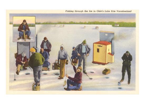 Ice Fishing, Lake Erie, Ohio--Art Print