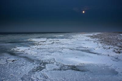 Ice Floes Iat the Wadden Sea, Moonlight, Dangast, Jade Bay, the North Sea-Axel Ellerhorst-Photographic Print