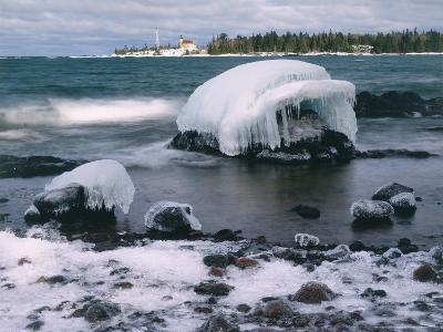 Ice Formations on Lake Superior Below Copper Harbour Lighthouse, Keweenah Peninsula, Michigan, USA-Willard Clay-Photographic Print