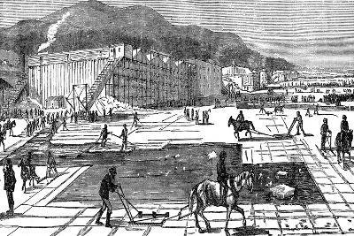 Ice Gathering on the Hudson River Near New York, USA, 1875--Giclee Print