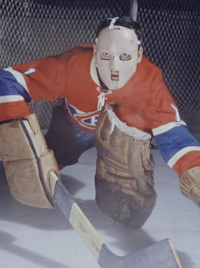 Ice Hockey Canadian Goalie Jacques Plante Wearing Mask Protect