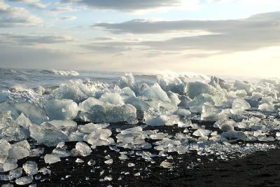 Ice, Icebergs, Black Lava Beach, Glacier Lagoon, Jškulsarlon, South Iceland-Julia Wellner-Photographic Print