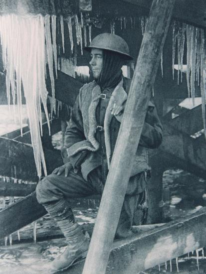 Ice Makes Daggers in the Winter Trenches, 1914-18--Photographic Print