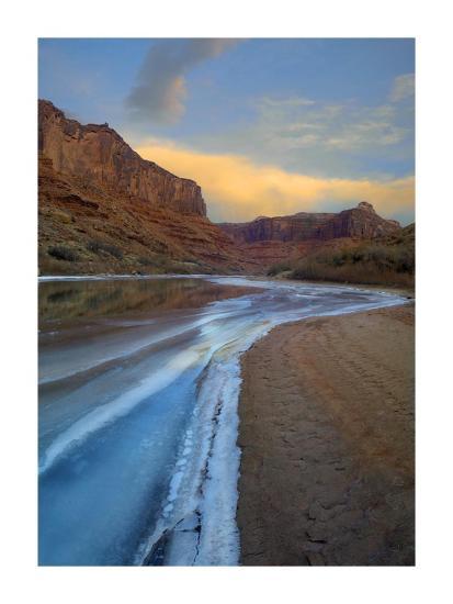 Ice on the Colorado River beneath sandstone cliffs, Cataract Canyon, Utah-Tim Fitzharris-Art Print