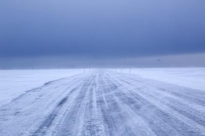 Ice Road in Bad Weather, Longyearbyen, Spitsbergen, Svalbard, Arctic Circle, Norway, Scandinavia-Stephen Studd-Photographic Print