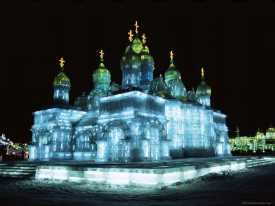 Ice Sculptures in Taiyangdao Park at Night, Bingdeng Jie, Heilongjiang, China-Tony Waltham-Photographic Print