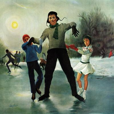 """Ice-skating Class for Dad"", February 8, 1958-George Hughes-Giclee Print"