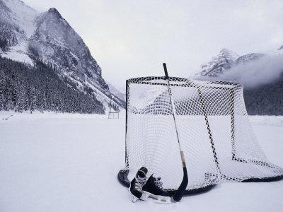 Ice Skating Equipment, Lake Louise, Alberta--Photographic Print
