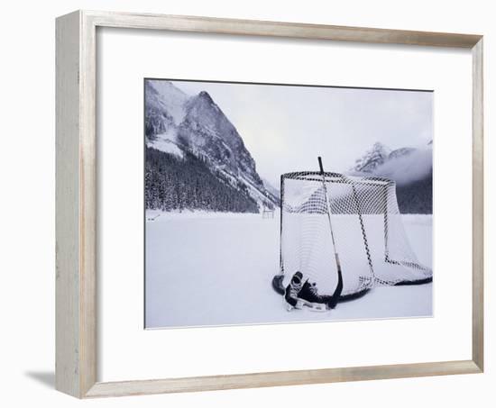 Ice Skating Equipment, Lake Louise, Alberta--Framed Photographic Print