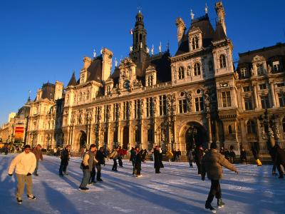 Ice-Skating in Front of Paris Hotel De Ville (City Hall), Paris, France-Martin Moos-Photographic Print