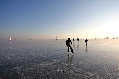Ice Skating on the Gouwzee in the Netherlands-Steve Photography-Photographic Print