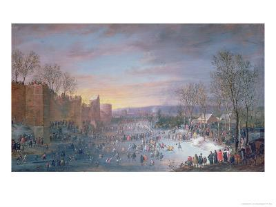 Ice Skating on the Stadtgraben in Brussels, 1649-Robert Van Den Hoecke-Giclee Print