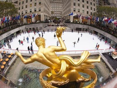 Ice Skating Rink Below the Rockefeller Centre Building on Fifth Avenue, New York City, New York, Un-Gavin Hellier-Photographic Print