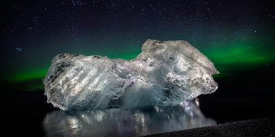 Ice with the Aurora Borealis. Ice Formations Come from the Jokulsarlon Glacial Lagoon--Photographic Print