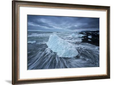 Iceberg from Jokulsarlon Lagoon on a Black Sand Beach-Michael Melford-Framed Photographic Print