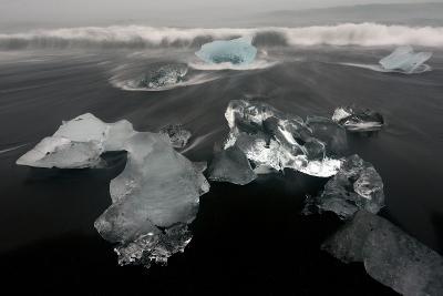 Icebergs and Ice on Black Beach in Iceland-Raul Touzon-Photographic Print