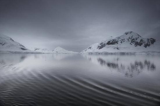Icebergs and Mountains Reflected in a Rippled Surface of the Ocean-Jim Richardson-Photographic Print