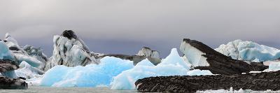 Icebergs and Volcanic Ash, Jokulsarlon Lagoon, Iceland--Photographic Print