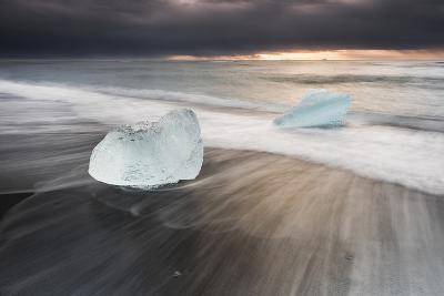 Icebergs at Sunrise on Jokulsarlon Beach, Iceland, Polar Regions-Matthew Williams-Ellis-Photographic Print