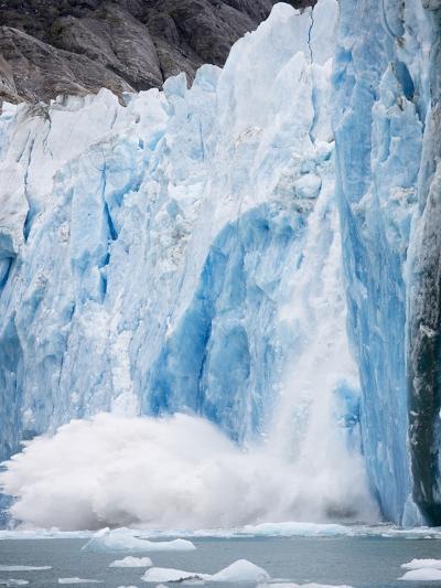 Icebergs Calving from Dawes Glacier in Alaska-Paul Souders-Photographic Print