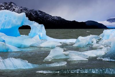 Icebergs Float in Lago Grey in Torres Del Paine National Park-Mattias Klum-Photographic Print