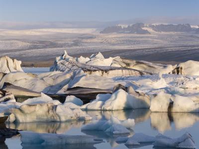 Icebergs Floating in the Lagoon Beneath Breidamerkurjokull Glacier, Southern Area, Iceland-Gavin Hellier-Photographic Print