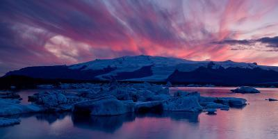 Icebergs in a Glacial Lake, Jokulsarlon Lagoon, Iceland--Photographic Print