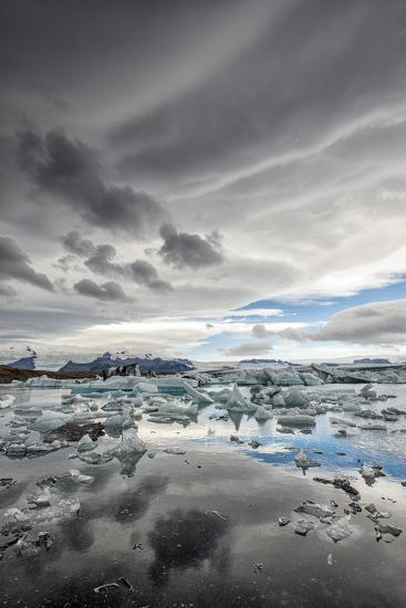 Icebergs in Glacial Lagoon with Stormy Sky-Mike Hill-Photographic Print
