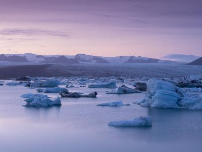 Icebergs in Jokulsarlon Glacial Lagoon, at Dusk-Patrick Dieudonne-Photographic Print