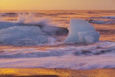 Icebergs in the Waves Next to Glacial River Lagoon Jškuls‡rlon (Lake), East Iceland, Iceland-Rainer Mirau-Photographic Print
